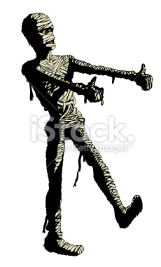 Egyptian mummy dances in his bandages. Clip art