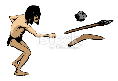 Caveman throws a weapon illustration