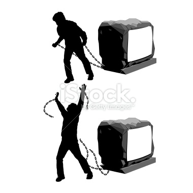 Man held back and then breaking the chains to gain freedom illustration