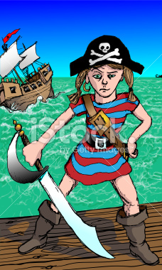 Little Girl Pirate with Attitude Illustration