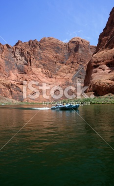 Boating (or rafting) through Glen Canyon