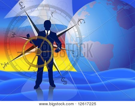 Businessman/banker/broker calmly navigating the financial markets with international currencies compass and world globe in background.