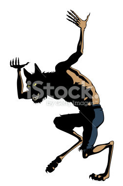 Werewolf Dances. Clip art Cartoon