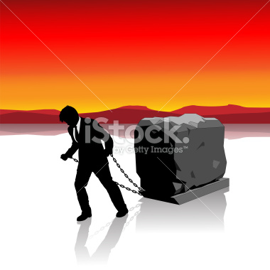 Businessman Held Back by Heavy Load Illustration