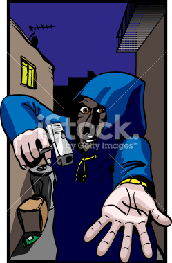Gun Crime, Hooded mugger in alleyway