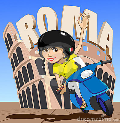 Roma Italian Scooter Girl Waves OK at while passing Colosseum Illustration