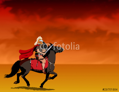 Roman centurion riding Illustration