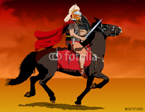 Roman centurion on horseback Illustration