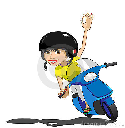 Pretty Scooter Girl Waves OK Illustration