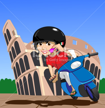 Scooter Girl on mobile phone while passing Colosseum Illustration