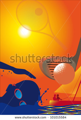 Sun, Sports, Golf, Sailing, Tennis, Swimming, Sunglasses Background Montage